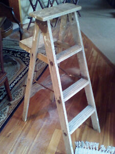 Antique wooden step ladder.  Great for lots of decor ideas!
