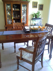 Solid wood dining set and console cabinet