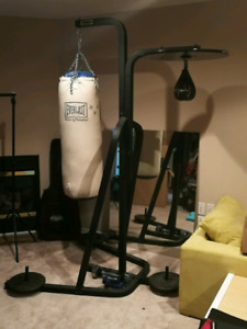 Punching bag w/stand and speed bag