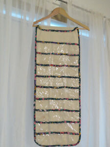 Cream Hanging Jewelry Organizer with floral trim