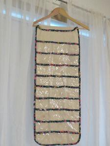 Cream Hanging Jewelry Organizer with floral trim