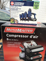 5 Gallon twin-stack air compressor & 4 Piece Nailer Kit