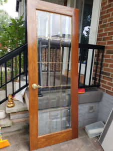 Solid wood French door with leaded glass