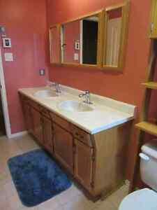 Bathroom vanity, sinks, faucets, pharmacie, toilet