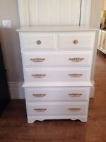 White tallboy with gold details