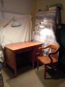 Old Teacher Desk with Chair / Vintage  / Antiques
