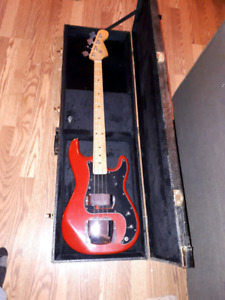 4 string bass, case and amp