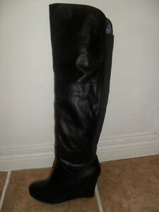 Black leather Over-The Knee-Boots