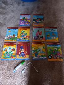 Leapreader pen and 10 books