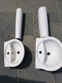 Bathroom pedestal basins.