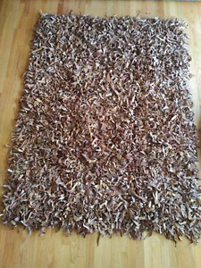 Leather shag rug