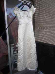 Cream Satin Off The Shoulder Evening Gown / Prom Dress