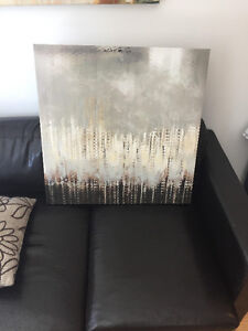 """art on canvas, 25"""" square, grey/brown/white"""