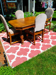 WALNUT DINING SET TABLE CHAIRS AND HUTCH