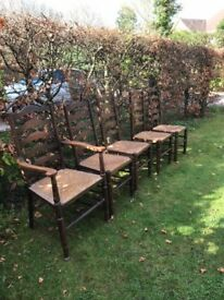 5 ladder back chairs with rush seats,