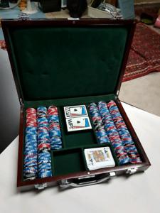 Beautiful poker chips in box