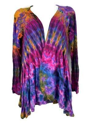 Tie Dye Boho Cardigan Open Front Jacket Kathmandu Imports Size S Rayon Spandex