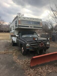 1974 Chev 3500 1 ton dually truck camper with snow plow