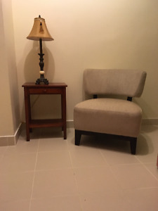Accent Chair with table and lamp