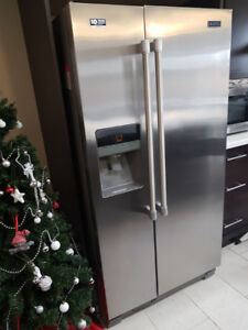 """Maytag 36"""" Wide Side-by-Side Refrigerator w/ Ice & Water"""