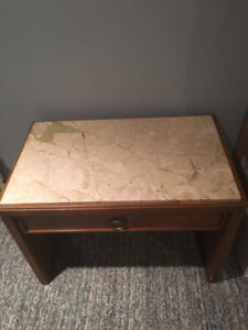 JUST REDUCED!! SOLID MAPLE TABLE WITH MARBLE TOP