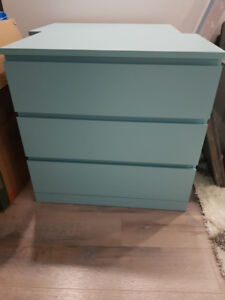 2 mint green Ikea Malm 3 Chest Drawers $75 each OBO