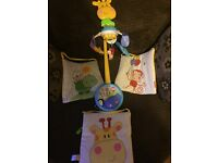Fisher Price cot mobile and 3 piece soft wall art set