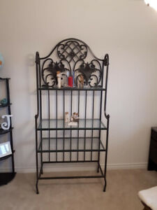Brass display with glass shelves