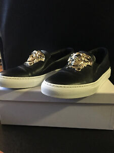 Authentic Versace Black Leather Medusa Slip-On Sneakers