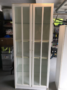 IKEA White cabinet with glass doors