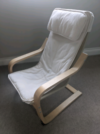 IKEA Poang Children's Armchair in birch with white cover - can deliver