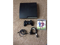 PlayStation 3 PS3 slimline black 300gb dualshock controller Fifa 15 all cables full working order