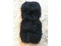 Black sheepskin buggy liner