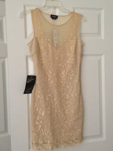 NEW BEBE LACE DRESS IN BEIGE -  NEW PRICE $120