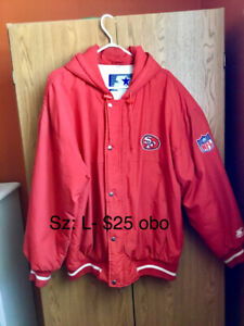 MAN'S RED 49ers JACKET, SZ: L