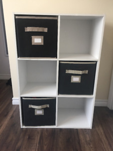 6 Cube White Shelf with 3 Black Fabric Drawers
