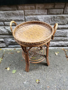 Vintage Bamboo Rattan Butler's Serving Tray Table,Cocktail Table