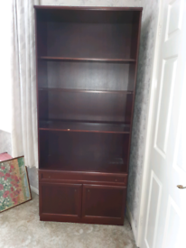 Mahogany Bookcase Cabinet with Single Drawer and Cupboard