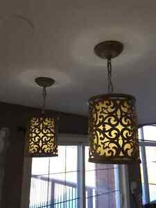 Set of Two Hanging Lights and Matching Ceiling Light