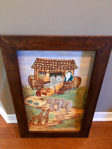 Gorgeous hand painted Noah's ark painting