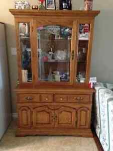 Oak Buffett / hutch  and table for sale