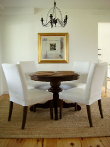 Pottery Barn Pedestal Dining Table and Four Chairs