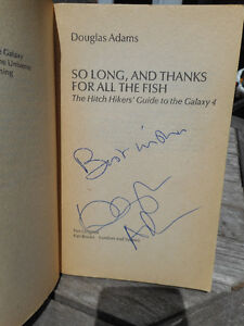 Douglas Adams signed book Hitchhikers Guide to Galaxy Vol 4