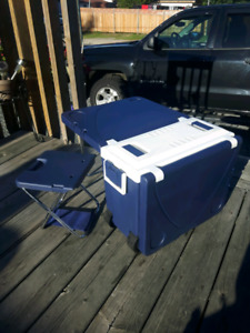 Hybrid cooler-picnic table!