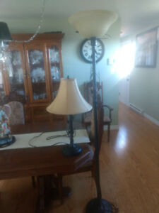 Table and pole lamp