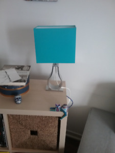 2 bedside/desk lamps - IKEA/Klabb - Blue and Light Brown
