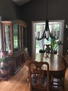 Solid Oak Dining Room Table Set with Hutch