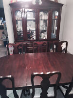 Formal fine dining kitchen table six chairs hutch china cabinet