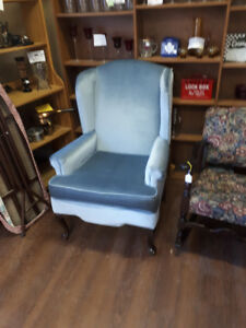 powder blue wing back chair