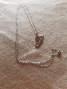 Silver chain necklace J with diamonds